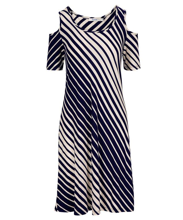Cold Shoulder Swing Striped Dress, Navy/Ivory, hi-res