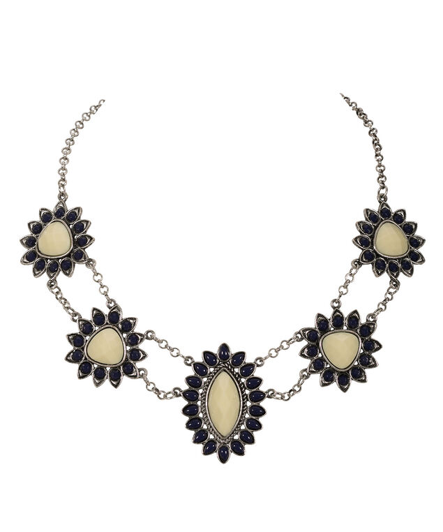 Floral Statement Necklace, Yellow/Sapphire/Rhodium, hi-res