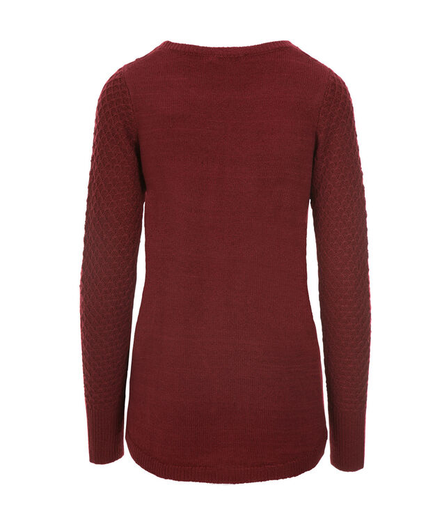 Basket Stitch Pullover Sweater, Cranberry, hi-res