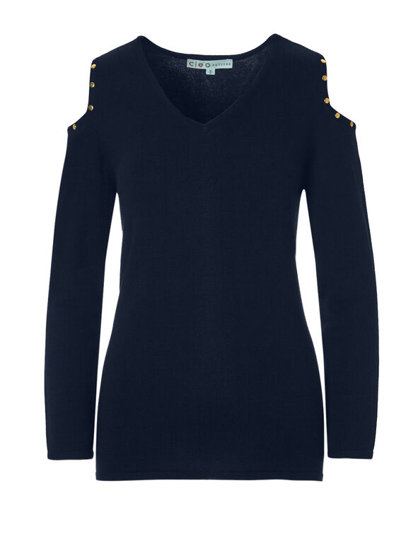Gold Stud Pullover Sweater, Navy/Gold, hi-res