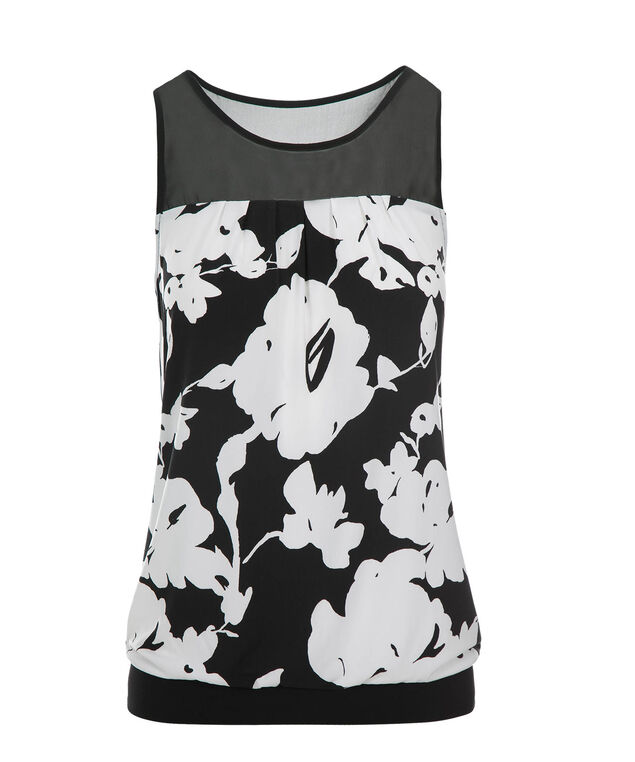 Illusion Neck Tank, Black Print, hi-res