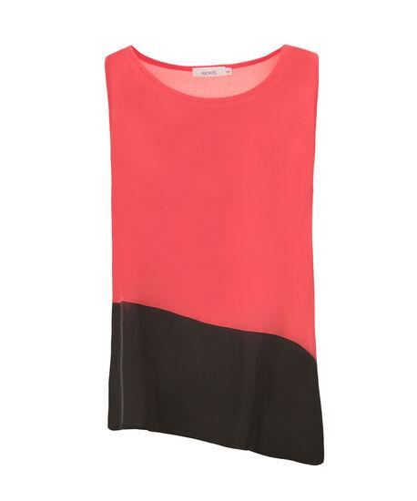 Asymmetrical Colourblock Blouse, Coral/Black, hi-res