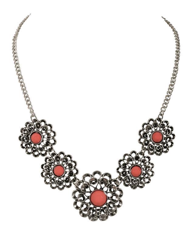 Flower Statement Necklace, Coral/Burnished Silver, hi-res