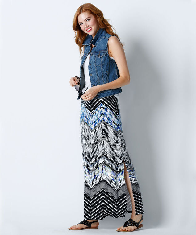 Printed Knit Maxi Skirt, Black/Blue Print, hi-res