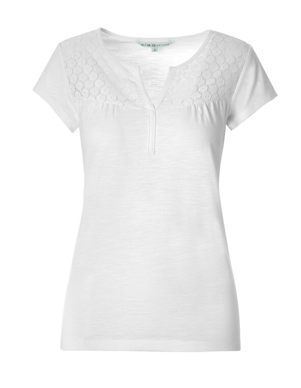 White Lace Yoke Tee, White, hi-res