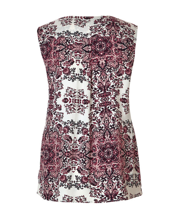 Claret Print Ruffle Front Blouse, Ivory/Claret/Dusty Pink, hi-res