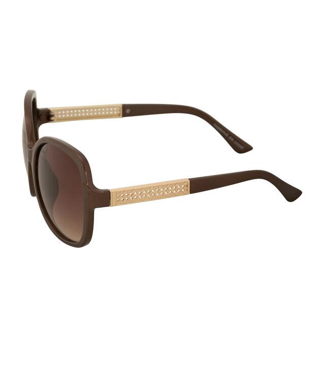 Diamond Cutout Sunglasses, Brown/Gold, hi-res