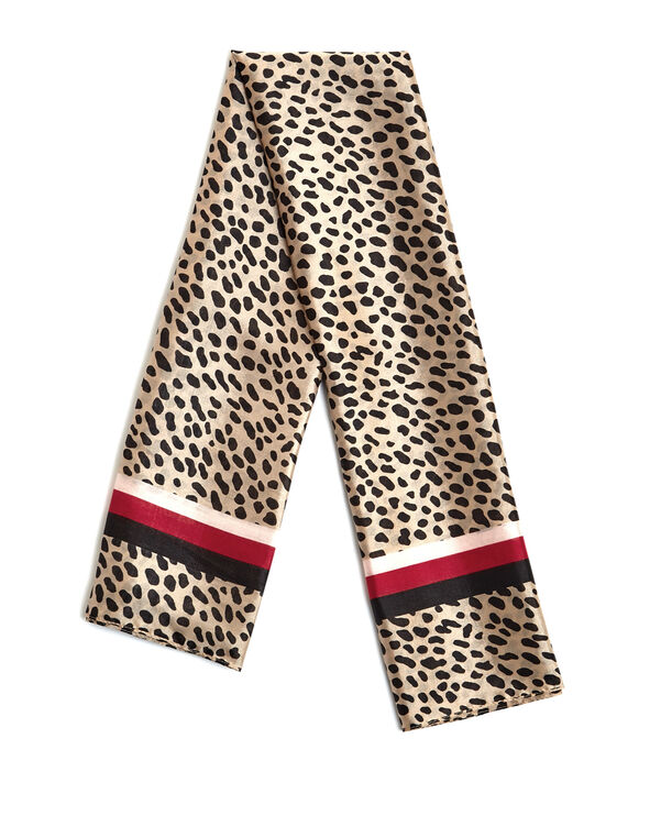 Animal Print Square Scarf, Nude/Black/Red, hi-res