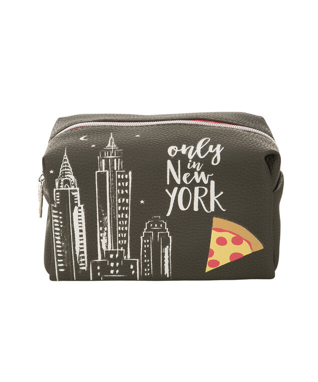 New York City Cosmetic Bag, Grey, hi-res