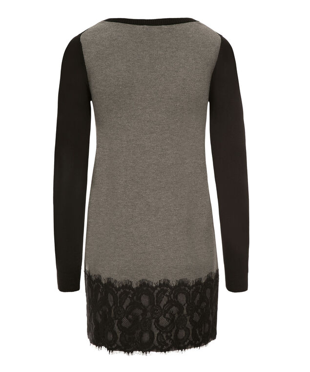 Colourblock Lace Tunic, Black/Grey, hi-res