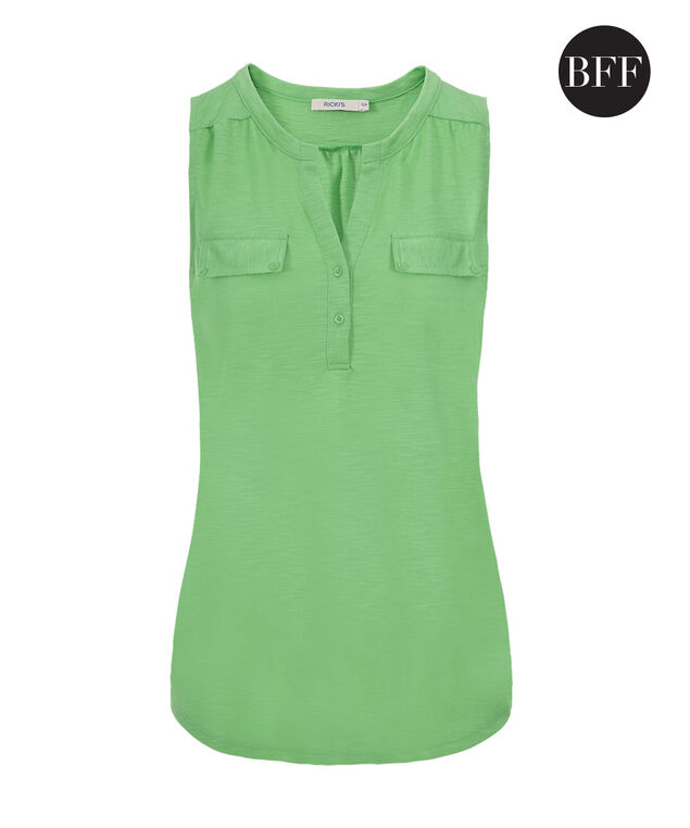 Henley Pocket Tank, Leaf Green, hi-res