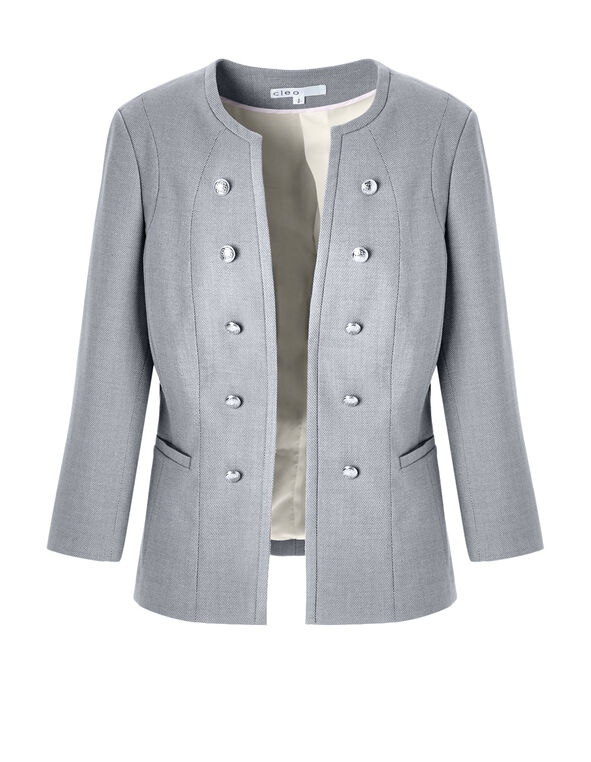 Birdseye Military Blazer, Grey, hi-res