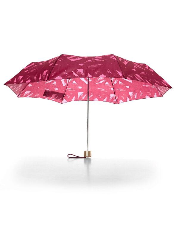 Red Brush Print Umbrella, Red/Gold, hi-res