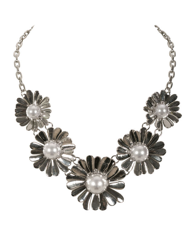 Flower & Pearl Statement Necklace, Ivory/Rhodium, hi-res