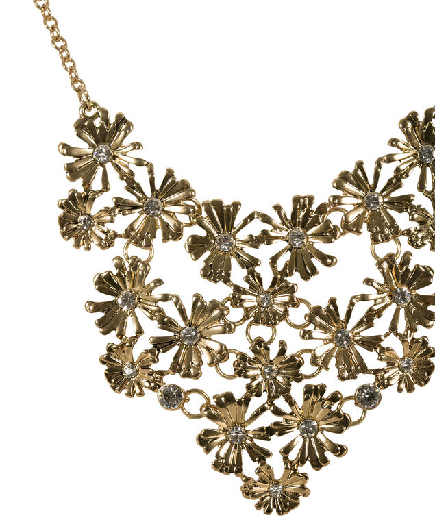 Flower Statement Necklace, Antique Gold, hi-res
