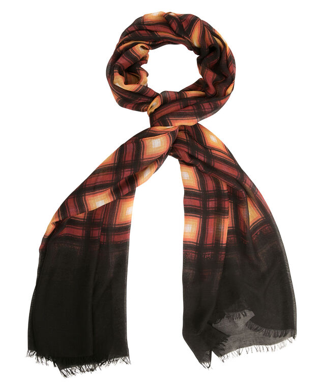 Plaid Print Scarf, Spices, hi-res
