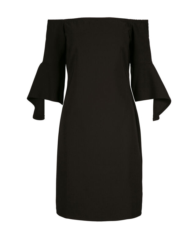 Bell Sleeve Romance Dress, Black, hi-res