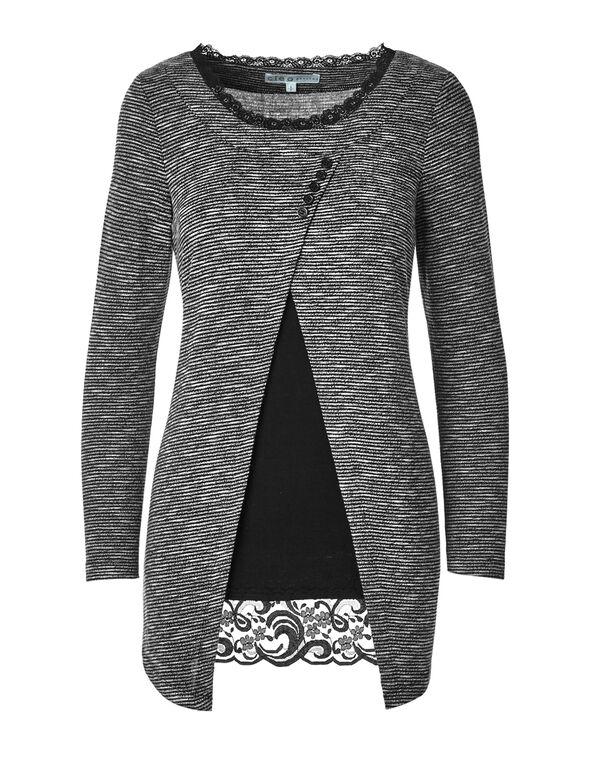Textured Lace Trim Pullover, Black/White, hi-res