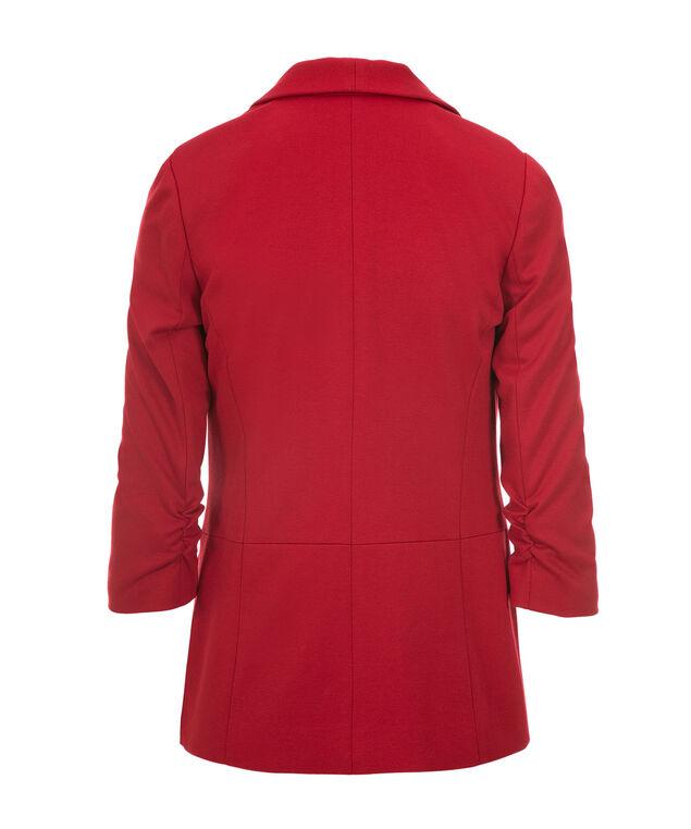Knit Shawl Collar Blazer, Crimson Red, hi-res