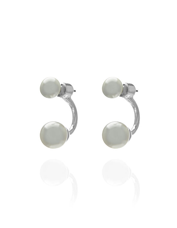Silver Pearl Earring, Silver/Pearl, hi-res