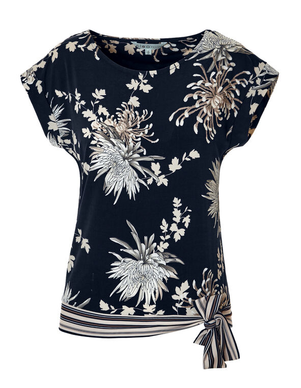 Floral Stripe Side Tie Top, Navy/Stone/White/Dk. Taupe, hi-res