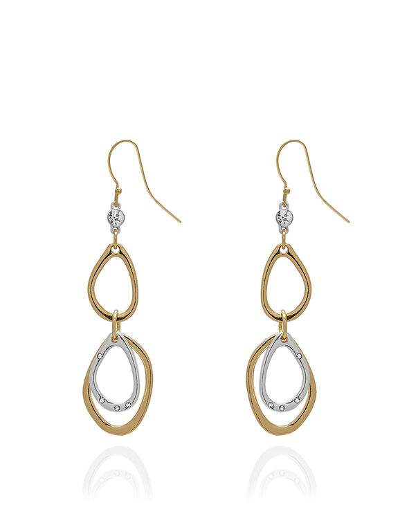 2 Tone Oval Earrings, Gold/Silver, hi-res