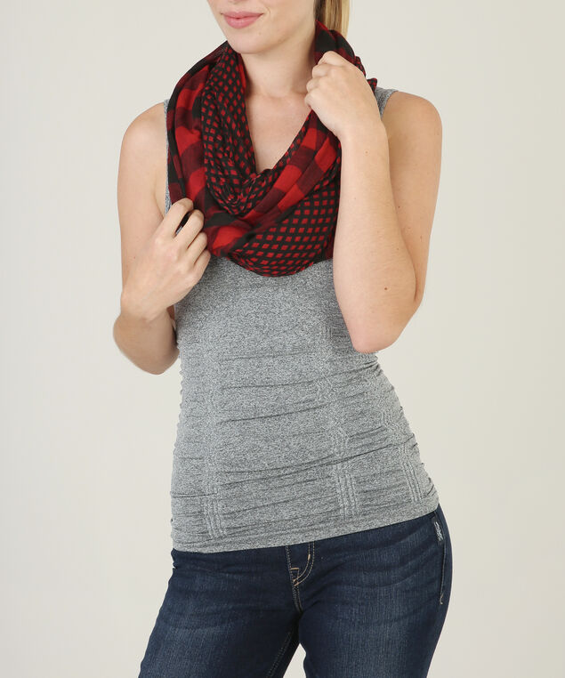 buffalo plaid eternity scarf, RED/BLACK, hi-res
