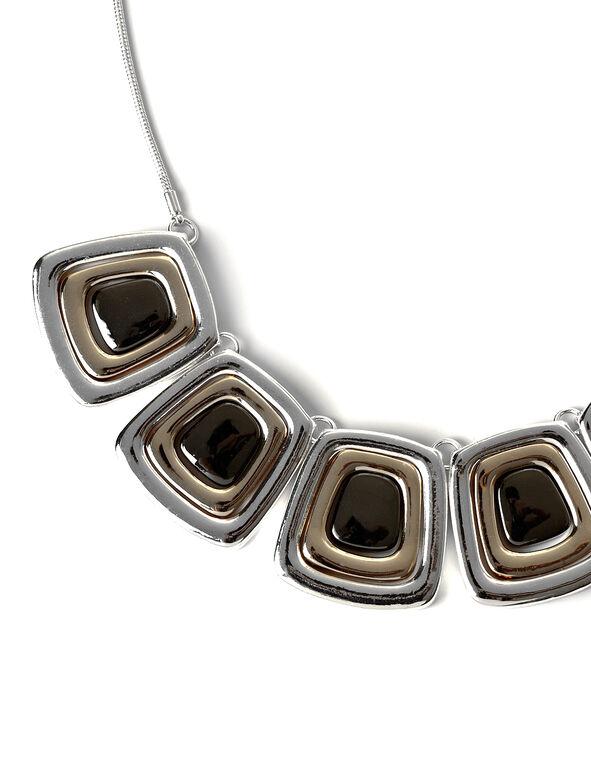 Three Tone Necklace, Rhodium/Gold/Hemi, hi-res