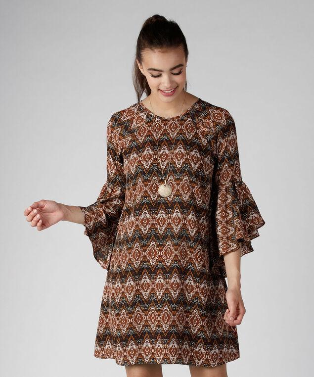 Flounce Shift Dress, Rust Print, hi-res