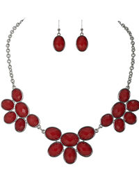 Faceted Stone Necklace Set