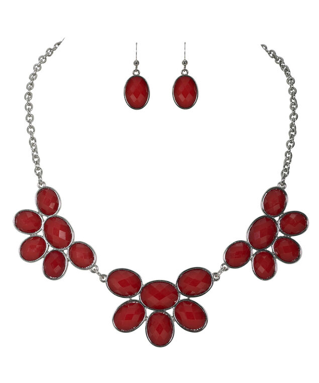 Faceted Stone Necklace Set, Poppy Red/Rhodium, hi-res
