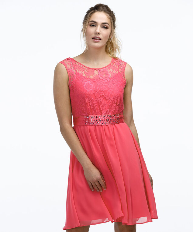 Lace Bodice Dress, Coral, hi-res