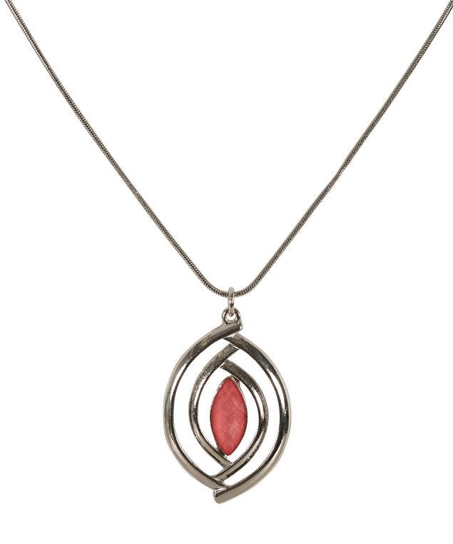 Glitter Stone Necklace, Strawberry Daiquiri/Rhodium, hi-res