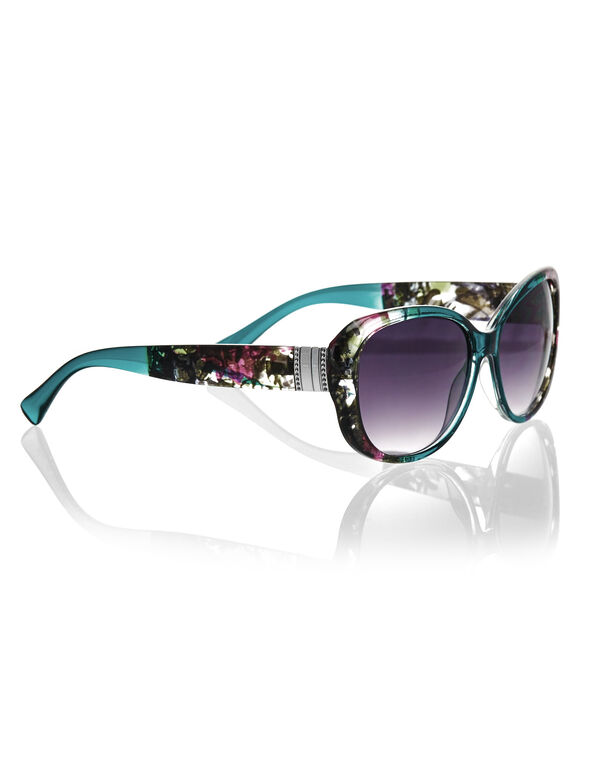 Teal Floral Print Sunglasses, Teal/Pink/Black, hi-res