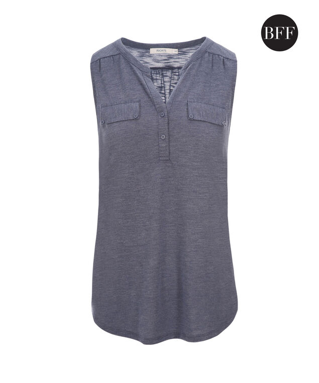Henley Pocket Tank, Soft Indigo, hi-res