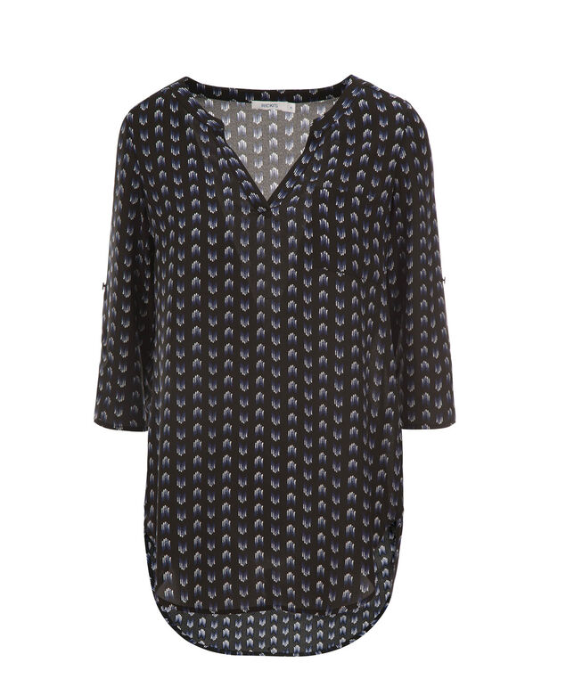 Roll Sleeve Henley Tunic, Black Print, hi-res