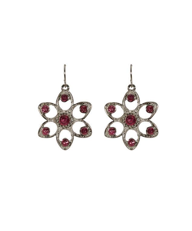 Flower Crystal Earring, Strawberry Daquiri/Rhodium, hi-res