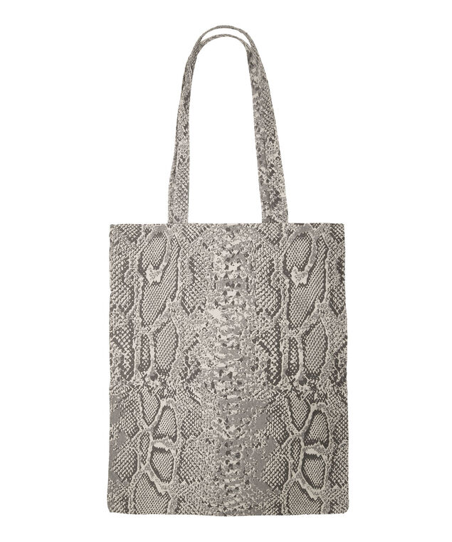 Snake Print Reusable Tote Bag, Black/Brown, hi-res