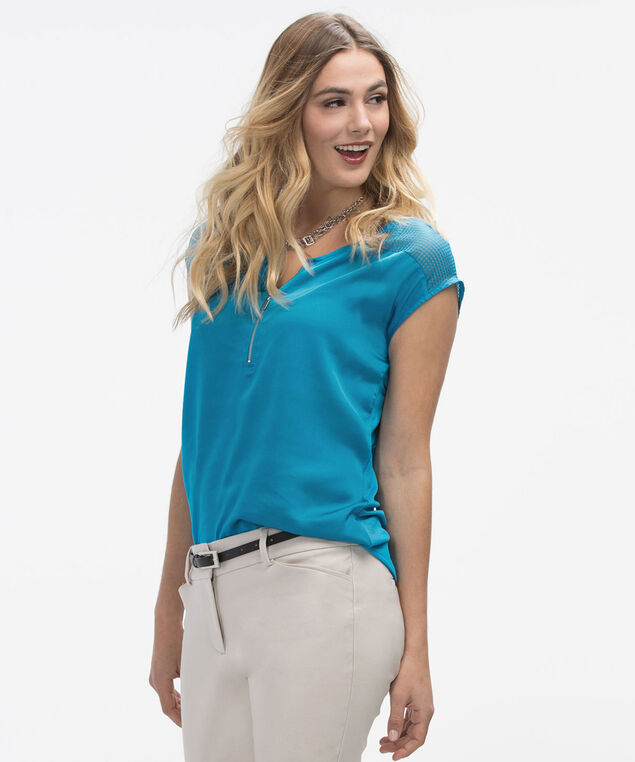 Perforated Yoke Zip Top, Turquoise, hi-res