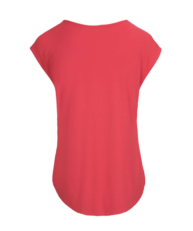Extended Sleeve Ruffle Front, Strawberry Daiquiri, hi-res