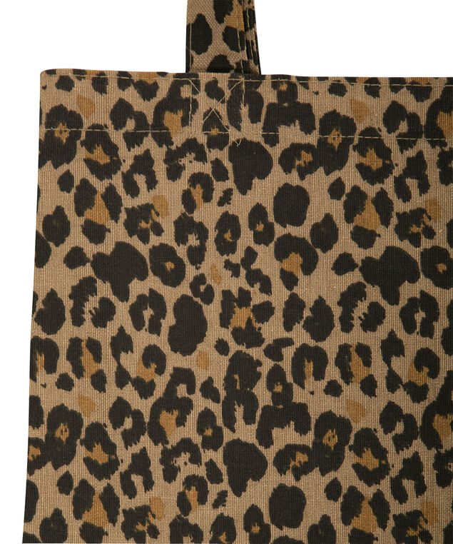 Leopard Print Reusable Tote Bag, Brown/Black, hi-res