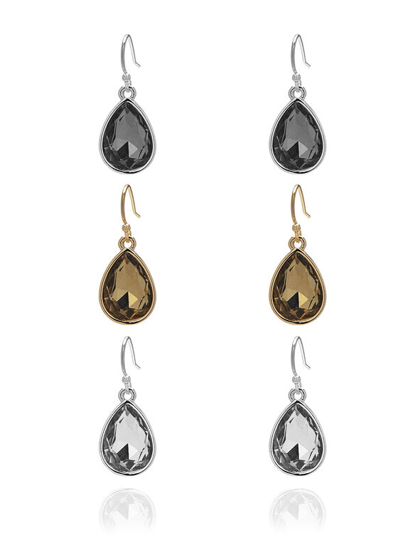 Mixed Teardrop Trio Earring Set, Gold/Silver/Hematite, hi-res