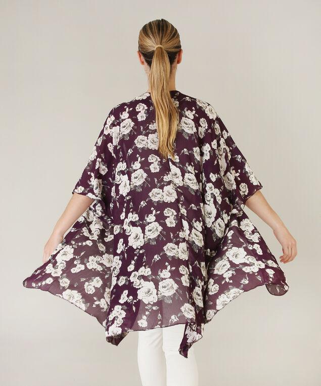 ruana floral kimono - wb, BURGUNDY, hi-res