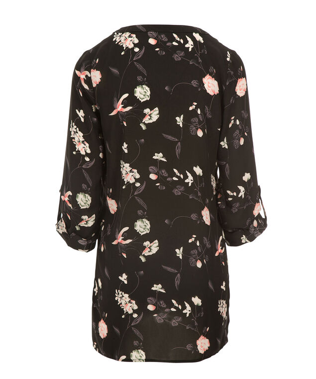 Criss Cross Tunic Blouse, Pink Quartz/Black Print, hi-res