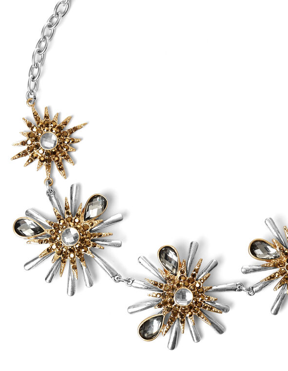 2 Tone Starburst Necklace, Silver/Gold, hi-res