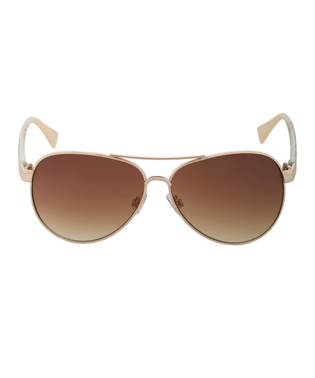 Animal Print Aviator Sunglasses, Gold, hi-res