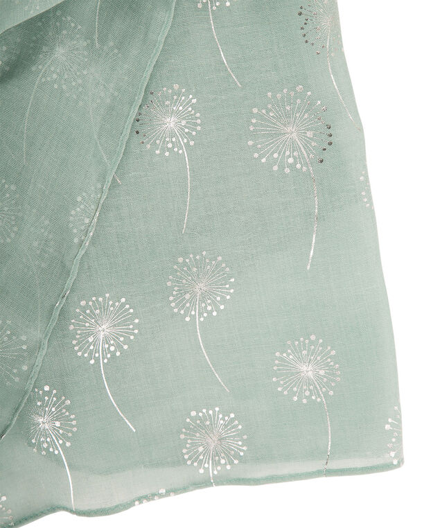 Foil Dandelion Print Scarf, Light Turquoise/Silver, hi-res