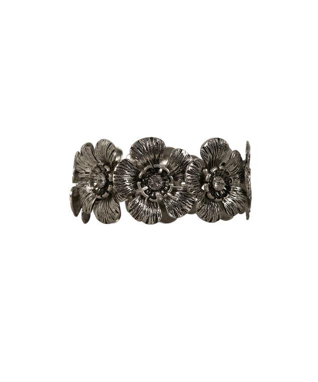 Metal Floral Stretch Bracelet, Burnished Silver, hi-res
