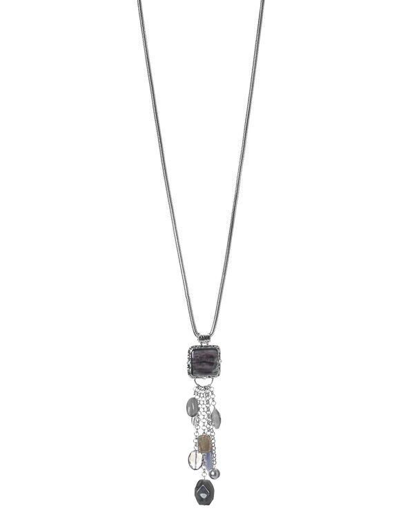 Grey Stone Tassel Necklace, Grey/Silver, hi-res