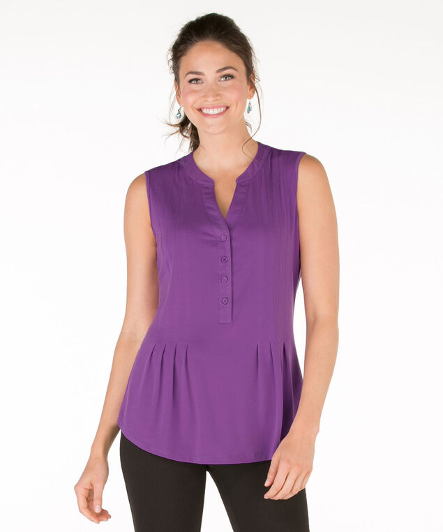 Sleeveless Pintuck Shirt, Purple, hi-res